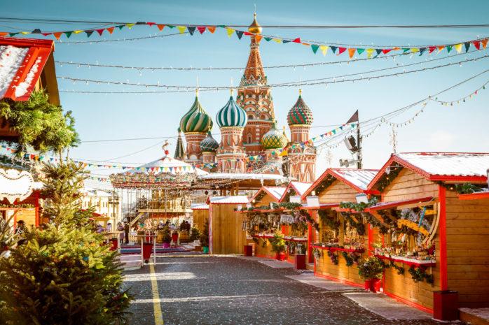 Moskvas julemarked på Den røde plass er en uforglemmelig opplevelse